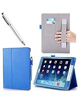 iPad Air 2 Case, i-Blason Apple iPad Air 2 Case with Touch ID 2014 Release [2nd Generation] Auto Wake/ Sleep Smart Case Leather Case (Elastic Hand Strap, Multi-Angle, Card Holder) With Bonus Stylus / 3 Year Warranty (iPad Air 2, Blue)