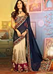 LISA HAYDON BLUE AND CREAM NET AND GEORGETTE SAREE - SASWAG7705