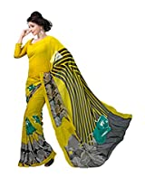 ANSS Elegant Designer Faux Georgette Saree with Floral Print - Yellow&Black
