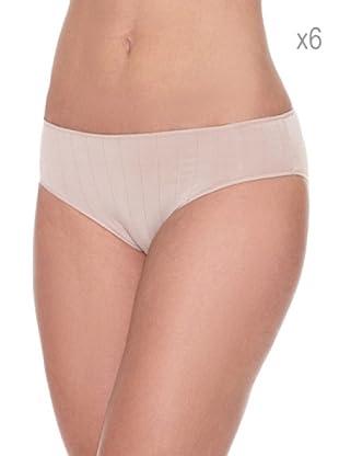 Pierre Cardin Pack x 6 Braguitas Bikini Canalé (Piel)