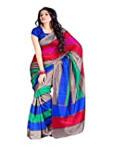 SAREE LAXMI Women's Cotton Silk Saree (Multi-Coloured)