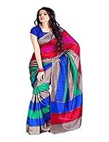 Jai Maa Ambey Creation Women's Cotton Silk Saree (Multi-Coloured)
