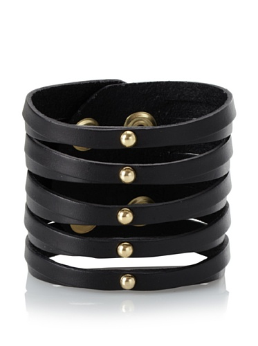 Linea Pelle Sliced Cuff with Dome Studs, Black