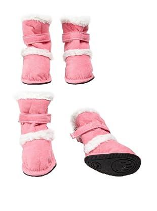 Pet Life Shearling Duggz Dog Shoes (Pink/White)