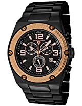 Men'S Throttle Chronograph Rose Gold Tone Bezel Black Ip Stainless Steel (40025P-Bb-11-Rb)