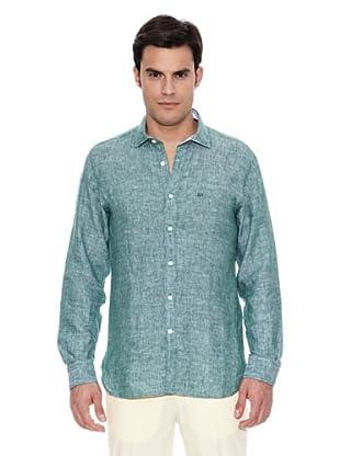 Pedro del Hierro Camisa Lino Liso (Verde Oscuro)