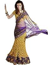 Sapphire Fashions Women's Yellow Georgette Sari