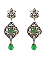 Be You Striking White Colour Antique Diamond Look Rhodium Plated Brass Dangle Earring for Women