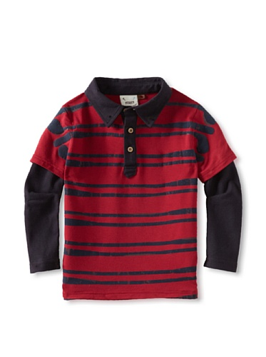 Fore!! Axel and Hudson Boy's Stack Club Flocked 2-Fer Polo (Jester Red)