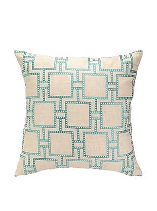 Peking Handicraft Dotted Line Pillow, Turquoise