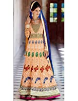Kimora Designer Peach Anarkali Semi-Stitched Suit