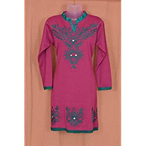 Pink & Mauve Colored Embroidered Woollen Kurti by Indian Treasures Boutique