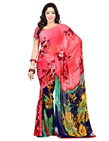 Admyrin Pink Georgette Printed Saree with Blouse Piece