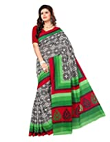 Sangam Saree Womens Green Black Bhalpuri Print Saree