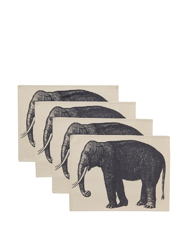 Thomas Paul Elephant Placemat Set (Charcoal)
