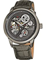 Akribos XXIV Men's AK538GY Mechanical Skeleton Leather Strap Watch