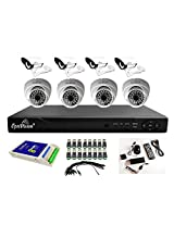 Optivision Combo kit - 4 Dome+ 4 Outdoor IR Night-vision CCTV Camera+ 8 Ch. DVR (HDMI+3G)+8ch. Power supply + 90 Mtr. 3+1 Wire