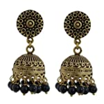 Black Brass Oxidized Gold Pearl Fashion Stud Earring antique finish Vintage earring for womens