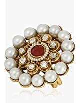 Ratnakar Red Stone With Ganthan Border And Polki Ring For Women