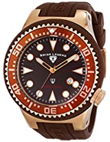 Swiss Legend Men's 21818D-RG-04 Neptune Collection Rose Gold Ion-Plated Brown Rubber Watch