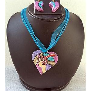 Anikalan Designs Egyptian Woman face Pendant Terracotta Necklace Set