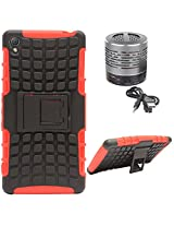 DMG Dual Hybrid Hard Grip Rugged Kickstand Armor Case for Sony Xperia Z3 (Red) + Wireless Bluetooth Speaker with Party LED Lights