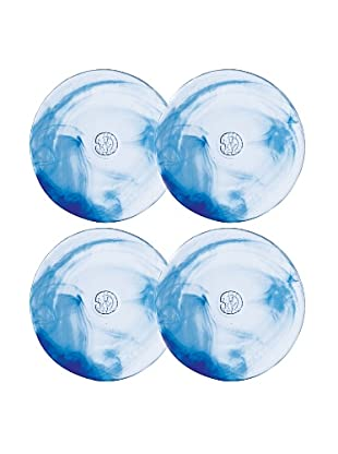 Orrefors Set of 4 Mine Dinner Plates (Blue)