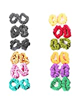 Accessher Beaded Leather Hair Ties Hair Band Multicolor combo Pack of 12