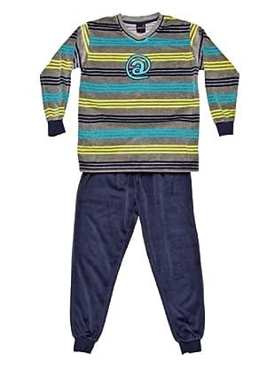 Basket Pijama Velour Cuello Pico Bordado (Azul)