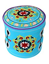 Ethnic Round Turquoise Ottoman Cotton Floral Embroidered Pouf Cover For Decor By Rajrang
