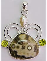 Exotic India Agate Pendant with Pearl and Peridot - Sterling Silver