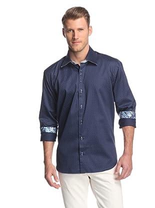 Cafe Bleu Men's Rebel Pindot Sportshirt (Navy)