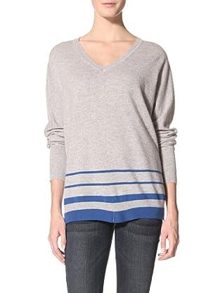 Kokun Women's Striped V-Neck Dolman Sweater (Grey/Cerulean)