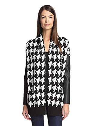 Central Park West Women's Houndstooth Open Cardigan