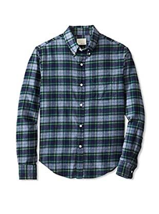 Band of Outsiders Men's Plaid Long Sleeve Shirt (Green)
