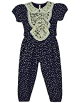 Oye Girls Puff Sleeves Jumpsuit with Peterpan Collar