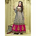 Grey Anarkali in self banarasi fabric and embroidery work
