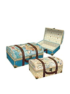 Punch Studio Set of 3 Nesting Trunk Boxes with Metal Hinges (Bon Voyage)