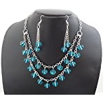 Blue Double Strand Crystal Necklace Set - TCB025