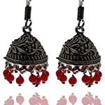 Antique oxidized german silver daily wear Red Pearl Jhumki Earring for womens NE-A3
