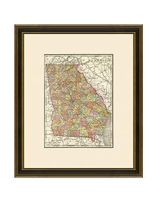 Antique Lithographic Map of Georgia, 1886-1899