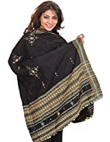 Exotic India Shawl from Kutch with Embroidered Bootis and Mirrors - Color Caviar BlackColor Free Size