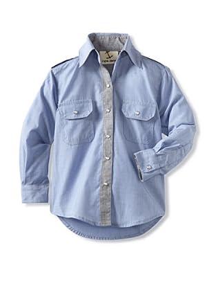 Captain Monkey Boy's The Edmund Snap-Front Shirt (Blue/black/silver)