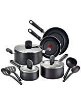 T-fal A688SC Soft Sides Nonstick Thermo-Spot Dishwasher Safe Oven Safe Cookware Set, 12-Pice, Black