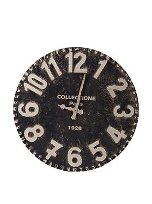 Reloj De Pared Negro Decapado