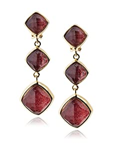 Kara Ross Watersnake Linear Drop Clip-On Earrings, Ruby Red
