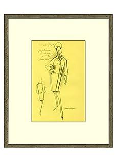 Vintage Women's Balenciaga Fashion Sketch c.1968