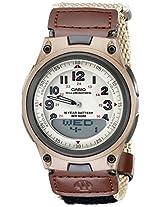 Casio Alarm-Feature Analog-Digital Beige Dial Men's Watch AW-80V-5BVDF