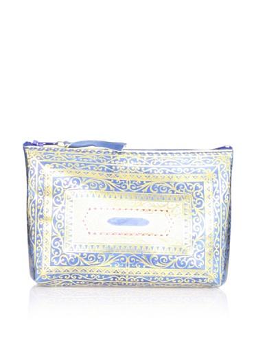 Sweet Bella Leather Venetian Zipper Case, Azure Blue