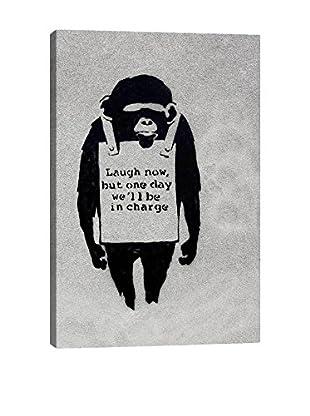 Banksy Laugh Now, Sandwich Board-Wearing Monkey Gallery Wrapped Canvas Print